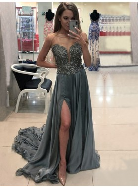 2020 A-Line Prom Dresses Chiffon Side Split Sheer Sexy Sleeveless Light-Slate-Grey Long
