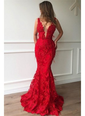 2020 Sexy Prom Dresses Red Mermaid V Neck Lace Charming