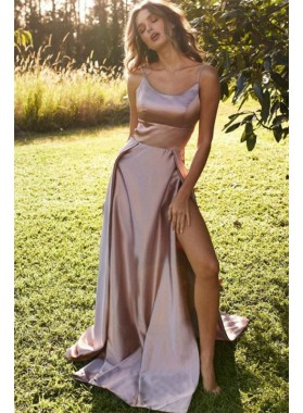 2020 Prom Dresses Simple A Line Elastic Satin Dusty Rose Side Slit Straps Long
