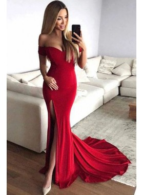 2020 Sexy Prom Dresses Red Off Shoulder Sheath Sweetheart Side Slit