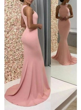 2020 Sexy Mermaid Prom Dresses Pink Satin Scoop Sleeveless