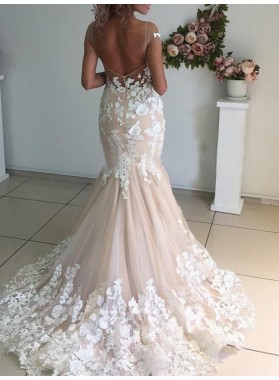 Capped Sleeves Champagne Mermaid Tulle With Lace Appliques Wedding Dresses 2020