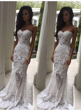 Sweetheart Lace Mesh With Appliques 2020 Sheath Sweep Train Wedding Dresses
