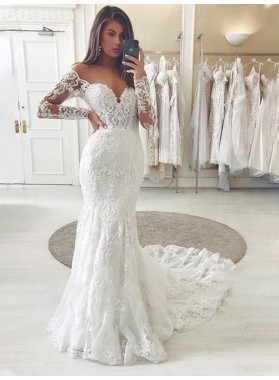Off Shoulder Sweetheart 2020 Lace Long Sleeves Chapel Train Wedding Dresses