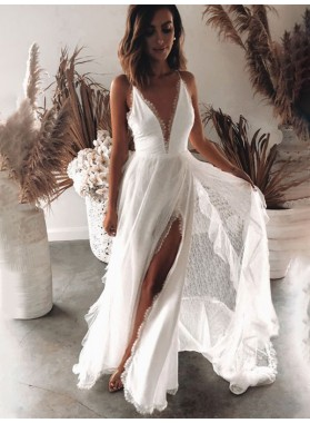 Lace Side Slit Backless Lace 2020 A Line Floor Length Beach Wedding Dresses