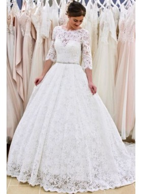 Long Sleeves Backless Beaded Sash A Line Round Neck Lace Wedding Dresses 2020
