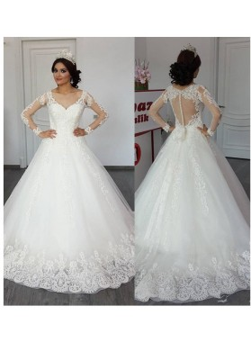 Long Sleeves Sweetheart 2020 A Line Tulle With Appliques Bowknot Mesh Wedding Dresses
