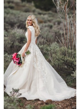 Ivory Tulle With Appliques 2020 Capped Sleeves V Neck Beaded Sash Long Lace Wedding Dresses