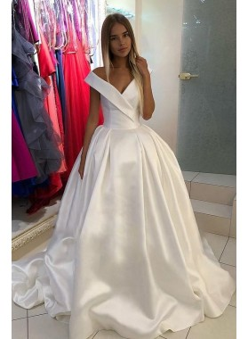 Off Shoulder Lace Up Back Satin 2020 Ivory Chapel Train Long Ball Gown Wedding Dresses
