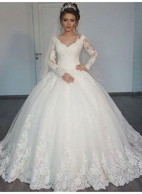 Sweetheart 2020 Lace Long Train Long Sleeves Ball Gown Wedding Dresses