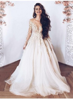 Sweetheart Sweep Train A Line Tulle With Appliques Beach Wedding Dresses 2020
