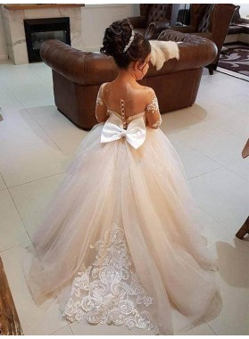 2020 Long Sleeves Ball Gown Off-the-Shoulder Sweep/Brush Train Applique Tulle First Holy Communion Dresses / Flower Girl Gowns
