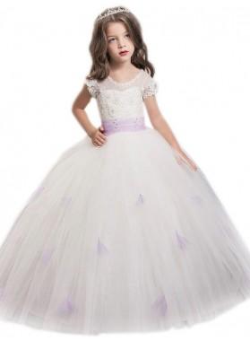 2020 Ball Gown Jewel Short Sleeves Sash/Ribbon/Belt Floor-Length Tulle First Holy Communion Dresses / Flower Girl Gowns