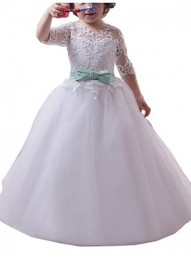 2020 Floor-Length Ball Gown Jewel 1/2 Sleeves Lace Tulle First Holy Communion Dresses / Flower Girl Gowns 2020COMM-7348