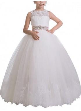 2020 Ball Gown Scoop Sleeveless Sash/Ribbon/Belt Floor-Length Tulle First Holy Communion Dresses / Flower Girl Gowns
