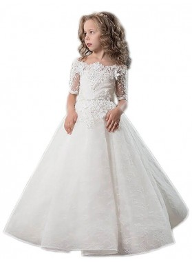 2020 Ball Gown Short Sleeves Off-the-Shoulder Applique Satin Floor-Length First Holy Communion Dresses / Flower Girl Gowns