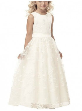 2020 Sleeveless A-line/Princess Scoop Applique Tulle Floor-Length First Holy Communion Dresses / Flower Girl Gowns