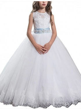 2020 Ball Gown Scoop Sleeveless Applique Floor-Length Tulle First Holy Communion Dresses / Flower Girl Gowns