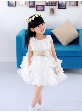 2020 A-line/Princess Scoop Sleeveless Hand-made Flower Short Organza First Holy Communion Dresses / Flower Girl Gowns