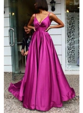 2021 A Line Fuchsia Satin Sweetheart Backless Long Prom Dresses