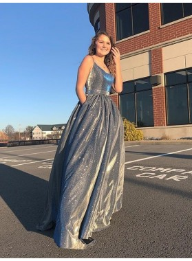 2021 A Line Halter Lace Up Back Gray Long Prom Dresses