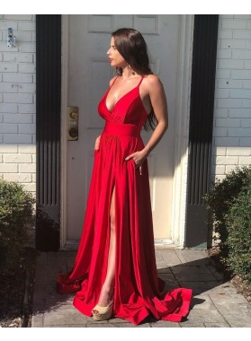 2021 Red A Line Sweetheart Side Slit Backless Long Prom Dresses