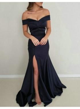 2021 Off Shoulder Black Sheath Side Slit Satin Long Prom Dresses
