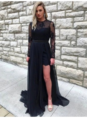 A Line Black Lace Long Sleeves High Low Backless Prom Dresses 2021