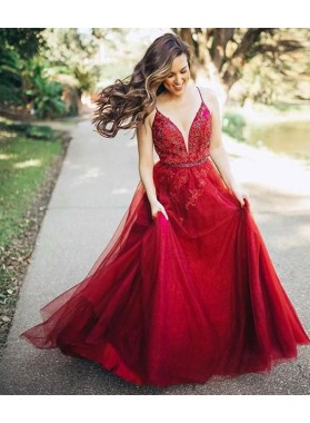 2021 A Line Tulle Backless Sweetheart Red Beaded Long Prom Dresses