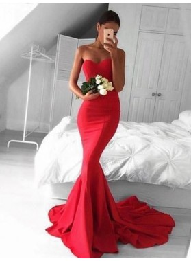 2021 Mermaid Red Satin Strapless Long Prom Dresses