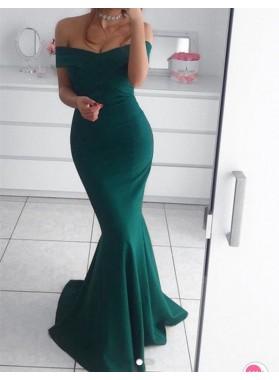 2021 Mermaid Satin off Shoulder Teal Long Prom Dresses