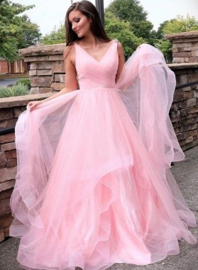 V Neck Pink A Line Beaded Ruffles Long Tulle Prom Dresses