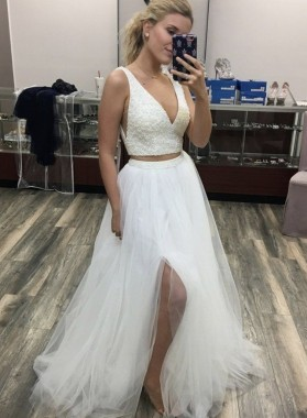 White V Neck Two Pieces A Line Beaded Long Prom Dresses