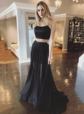 Two Pieces Tulle Halter A Line Black Lace Up Long Prom Dresses