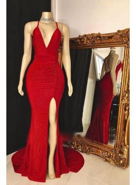 V Neck Sequence Red Side Slit Backless Long Prom Dresses