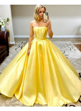 Yellow A Line Satin Long Strapless Prom Dresses