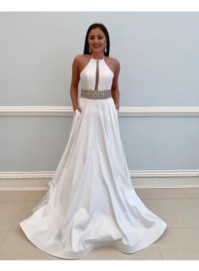 White A Line Beaded Satin Backless Long Halter Prom Dresses