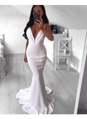 White Long Sweetheart Mermaid Prom Dresses