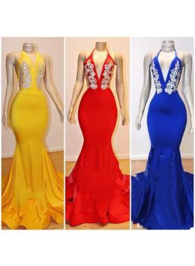 V Neck Long Mermaid Halter Backless Royal Blue Prom Dresses