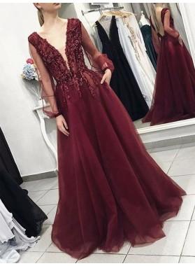 V Neck Burgundy A Line Long Sleeves Backless Long Tulle Prom Dresses