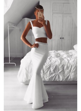 White Satin Beaded Two Pieces Long Mermaid Prom Dresses