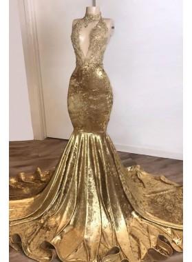V Neck Mermaid Velvet High Neck Gold Prom Dresses